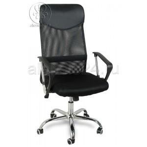 Кресло руководителя BY-2001 черный ткань-сетка, основание хром