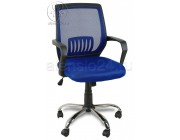 Кресло YF-930-1 синяя сетка, пластик черный, хром