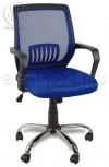 Кресло BY-2313 синий ткань-сетка, пластик черный, хром