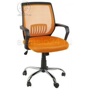 Кресло BY-2313 оранжевая ткань-сетка, пластик черный, хром