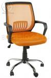 Кресло YF-930-1 оранжевая сетка, пластик черный, хром