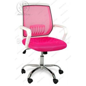 Кресло BY-2313 розовый ткань-сетка, пластик белый, хром