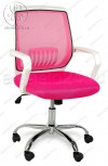 Кресло YF-930 розовая сетка, пластик белый, хром