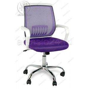 Кресло YF-930 фиолетовая сетка, пластик белый, хром