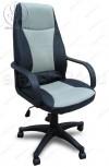 Кресло CX-0330M черное, вставки ткань серые