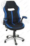 Кресло геймерское RT-521 ткань черный, синие вставки, основание хром