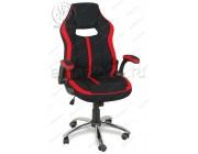 Кресло геймерское RT-521 ткань черный, красные вставки, основание хром