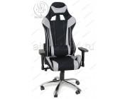 Кресло геймерское RT-6006-1 ткань черный, серые вставки, основание хром