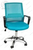 Кресло BY-2314 синий ткань-сетка, пластик черный, хром