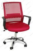 Кресло BY-2314 бордовый ткань-сетка, пластик черный, хром