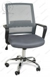 Кресло BY-2314 серый ткань-сетка, пластик черный, хром