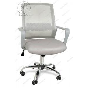 Кресло BY-2314 серый ткань-сетка, пластик белый, хром