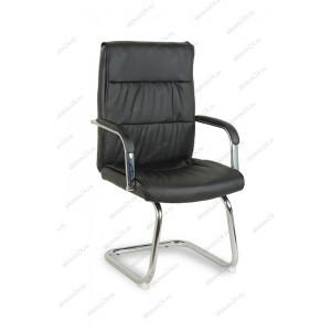 Кресло на полозьях BY-7652 черный кожзам, хром