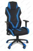 Кресло геймерское BY-8131-1 ткань черный, синие вставки