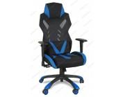 Кресло геймерское BY-8131 ткань черный, синие вставки