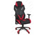 Кресло геймерское BY-8131 ткань черный, красные вставки