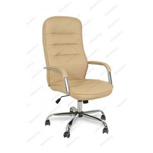 Кресло руководителя BY-9503 бежевый кожзам, хром