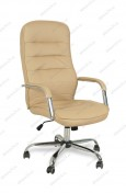 Кресло BY-9503 бежевый кожзам, хром