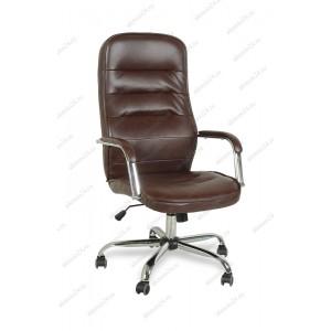 Кресло руководителя BY-9503 коричневый кожзам, хром