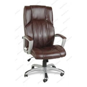 Кресло руководителя BY-9506 коричневый кожзам, пластик серебристый