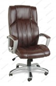 Кресло BY-9506 коричневый кожзам, пластик серебристый