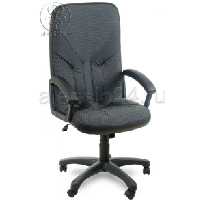 Офисное кресло руководителя Фортуна 2 (1)К ткань серая вставки кожзам