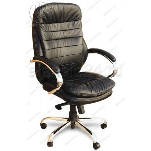 Кресло Бюрократ T-9950AXSN/Black черная натуральная кожа, пятилучие хром