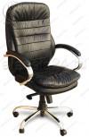 Кресло T-9950AXSN/Black черная натуральная кожа, пятилучие хром